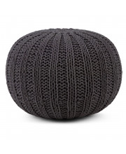 Shelby Hand Knit Round Pouf in Slate Grey