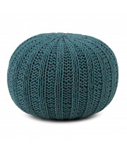 Shelby Hand Knit Round Pouf in Teal