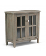 Warm Shaker Solid Wood Low Storage Cabinet in Distressed Grey