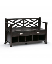 Sea Mills Solid Wood Entryway Storage Bench with Drawers & Cubbies in Espresso Brown