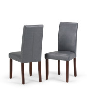 Acadian Faux Leather Parson Dining Chair in Stone Grey (Set of 2)