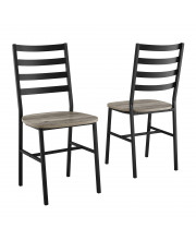 Slat Back Metal and Wood Dining Chair, 2-Pack - Grey Wash