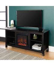 """Essential 58"""" Rustic Farmhouse Fireplace Tv Stand - Black"""