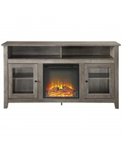 """Wasatch 58"""" Transitional Fireplace Glass Wood Tv Stand - Grey Wash"""