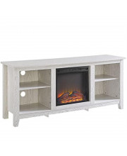 """Essential 58"""" Traditional Rustic Farmhouse Electric Fireplace Tv Stand - White"""