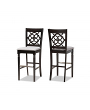 Baxton Studio Alexandra Modern And Contemporary Grey Fabric Upholstered And Espresso Brown Finished Wood 2-Piece Bar Stool Set