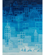 Momeni Rugs Lil' Mo Hipster Collection, Kids Themed Hand Carved & Tufted Area Rug, 3' x 5', Blue