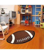"""Furnish my Place 715 Small 2x4 Kids Sports Football Shape Area Rug, 2'6""""x4', Red"""