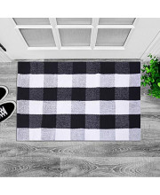 """Cotton Rug Buffalo Checkered Plaid Rug Door Mat for Entry Way Washable Doormat Bedroom Carpet (24"""" x 35"""", Black and White Plaid Rug)"""