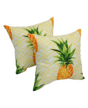 Spun Polyester 17-inch Outdoor Throw Pillows (Set of 2) - Pineapple Party