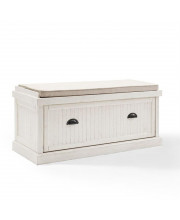Seaside Entryway Bench In Distressed White Finish