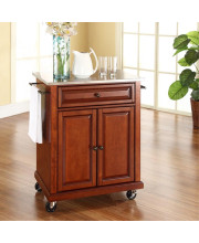 Stainless Steel Top Portable Kitchen Cart/Island In Classic Cherry Finish