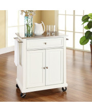 Stainless Steel Top Portable Kitchen Cart/Island In White Finish