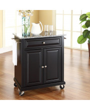 Solid Granite Top Portable Kitchen Cart/Island In Black Finish
