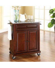 Solid Granite Top Portable Kitchen Cart/Island In Vintage Mahogany Finish