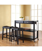 Stainless Steel Top Kitchen Cart/Island In Black Finish With 24Inch Black Upholstered Saddle Stools