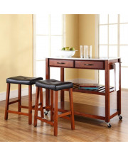 Stainless Steel Top Kitchen Cart/Island In Classic Cherry Finish With 24Inch Cherry Upholstered Saddle Stools