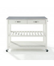Stainless Steel Top Kitchen Cart/Island With Optional Stool Storage In White Finish