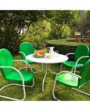 Griffith Metal Five Piece Outdoor Dining Set - 39Inch Dining Table In White Finish With Grasshopper Green Finish Chairs