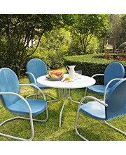 Griffith Metal Five Piece Outdoor Dining Set - 39Inch Dining Table In White Finish With Sky Blue Finish Chairs