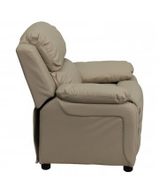 Deluxe Padded Contemporary Beige Vinyl Kids Recliner with Storage Arms - BT-7985-KID-BGE-GG