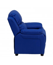 Deluxe Padded Contemporary Blue Vinyl Kids Recliner with Storage Arms - BT-7985-KID-BLUE-GG