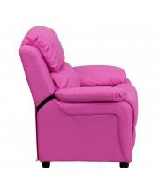 Deluxe Padded Contemporary Hot Pink Vinyl Kids Recliner with Storage Arms - BT-7985-KID-HOT-PINK-GG