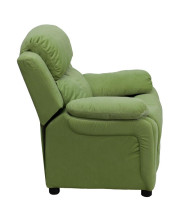Deluxe Padded Contemporary Avocado Microfiber Kids Recliner with Storage Arms - BT-7985-KID-MIC-AVO-GG