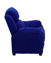 Deluxe Padded Contemporary Blue Microfiber Kids Recliner with Storage Arms - BT-7985-KID-MIC-BLUE-GG