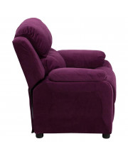 Deluxe Padded Contemporary Purple Microfiber Kids Recliner with Storage Arms - BT-7985-KID-MIC-PUR-GG