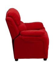 Deluxe Padded Contemporary Red Microfiber Kids Recliner with Storage Arms - BT-7985-KID-MIC-RED-GG