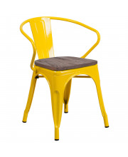 Yellow Metal Chair with Wood Seat and Arms