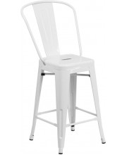 24'' High White Metal Indoor-Outdoor Counter Height Stool with Back - CH-31320-24GB-WH-GG