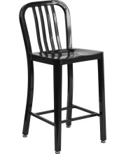 24'' High Black Metal Indoor-Outdoor Counter Height Stool with Vertical Slat Back - CH-61200-24-BK-GG