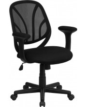 Y-GO Chair™ Mid-Back Black Mesh Swivel Task Chair with Arms - GO-WY-05-A-GG