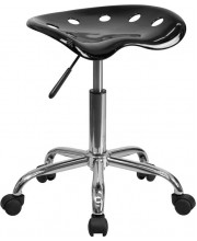 Vibrant Black Tractor Seat and Chrome Stool - LF-214A-BLACK-GG
