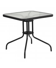28'' Square Tempered Glass Metal Table with Black Rattan Edging - TLH-073R-BK-GG