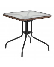28'' Square Tempered Glass Metal Table with Dark Brown Rattan Edging - TLH-073R-DK-BN-GG