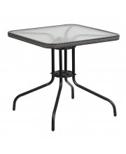 28'' Square Tempered Glass Metal Table with Gray Rattan Edging - TLH-073R-GY-GG
