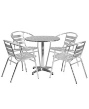 27.5'' Round Aluminum Indoor-Outdoor Table Set with 4 Slat Back Chairs - TLH-ALUM-28RD-017BCHR4-GG