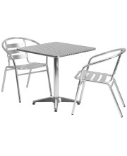 27.5'' Square Aluminum Indoor-Outdoor Table Set with 2 Slat Back Chairs - TLH-ALUM-28SQ-017BCHR2-GG
