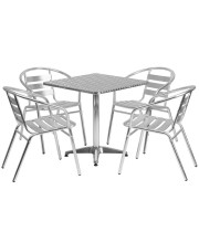 27.5'' Square Aluminum Indoor-Outdoor Table Set with 4 Slat Back Chairs - TLH-ALUM-28SQ-017BCHR4-GG