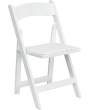 HERCULES Series White Wood Folding Chair with Vinyl Padded Seat - XF-2901-WH-WOOD-GG