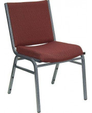 HERCULES Series Heavy Duty Burgundy Patterned Fabric Stack Chair with Ganging Bracket - XU-60153-BY-GG