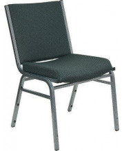 HERCULES Series Heavy Duty Green Patterned Fabric Stack Chair with Ganging Bracket - XU-60153-GN-GG