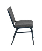 HERCULES Series Heavy Duty Gray Fabric Stack Chair with Ganging Bracket - XU-60153-GY-GG