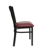 HERCULES Series Black X Back Metal Restaurant Chair - Burgundy Vinyl Seat