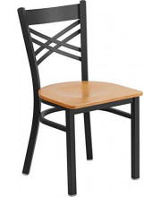 HERCULES Series Black X Back Metal Restaurant Chair - Natural Wood Seat - XU-6FOBXBK-NATW-GG