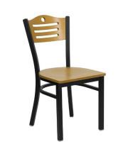 HERCULES Series Black Slat Back Metal Restaurant Chair - Natural Wood Back & Seat - XU-DG-6G7B-SLAT-NATW-GG