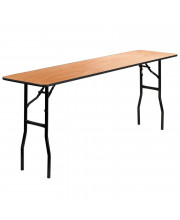 18'' x 72'' Rectangular Wood Folding Training / Seminar Table with Smooth Clear Coated Finished Top - YT-WTFT18X72-TBL-GG
